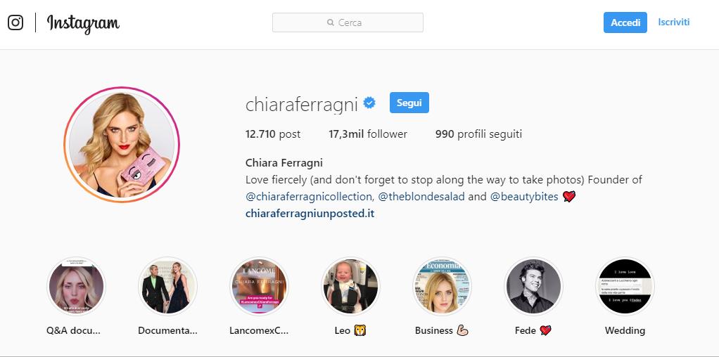 Screemshot del profilo Instagram di influencer Chaira Ferragni